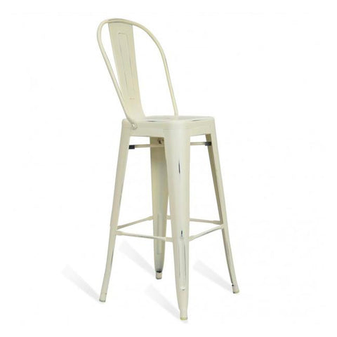 Modern Aluminum Bistro Bar Stool With Bamboo Seat Indoor-Outdoor Barstool with Back - EGGREE