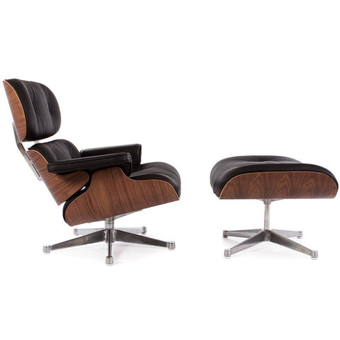 Eames Style Lounge Chair & Ottoman - Black - EGGREE