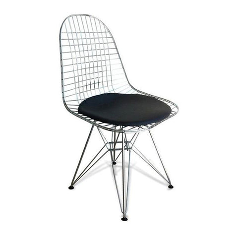 DKR Eiffel Wire Side Chair, Chrome Wire Dining Chair with Seat Pad for Outdoor and Indoor Use - EGGREE