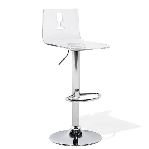 Adjustable Swivel Transparent Bar Stool With a Cut-out in The Shape of  Wine Glass Seat for Living Room Kitchen and Breakfast Chairs - EGGREE