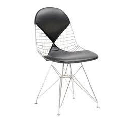 Mid-Century Modern EAMES Style DKR Side Wire Chair with Leather Padding for Dining Room, Living Room, Kitchen, Waiting Room - EGGREE