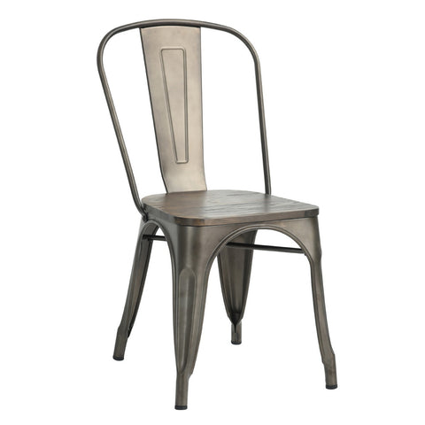 Tolix Style Metal Dining Chair - Gun - EGGREE