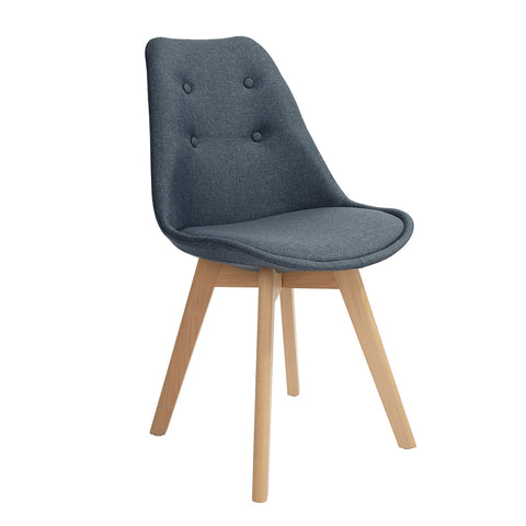 Frankfurt Tulip Fabric Chair, Dining Chair with Tufting, Middle Century Upholstered Leisure Side Chair, Soft back for Living Room, Dining Room and Bedroom, Perfect for Small-sized Room - EGGREE