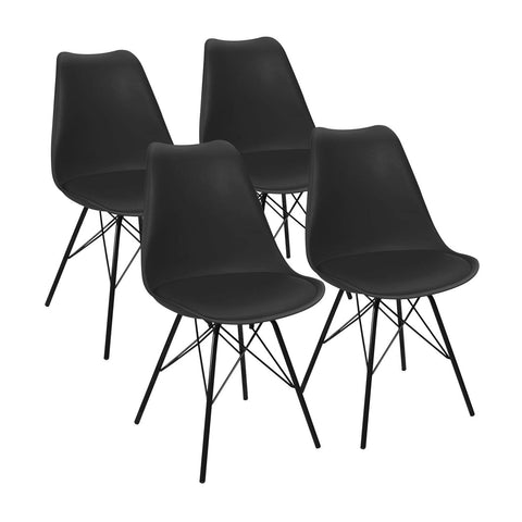 Eames Style Tulip Chair With Steel Legs, Modern Mid Century Dining Chair Plastic Chair for Kitchen Dining Living Room Side Chair