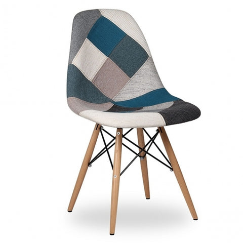 Eames Patchwork Fabric Side Chair Retro Woven Patchwork Dining Chair with Wooden Eiffel Legs - EGGREE
