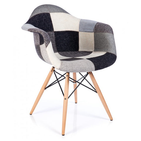 Mid-Century Eames Style Fabric Patchwork Armchair with Eiffel Tower Structure and Wooden Base for Dining Room, Living Room and Kitchen - EGGREE