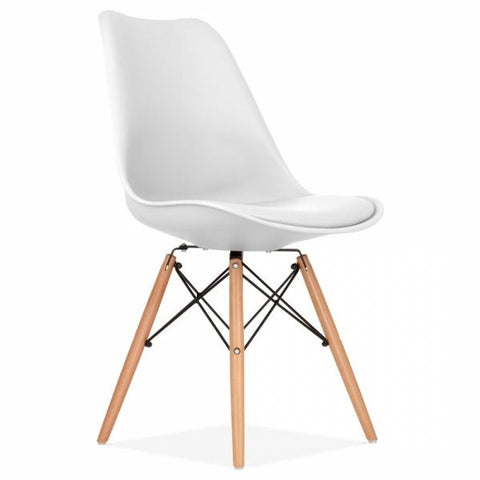 Eames Style DSW Chair with soft Pad plush faux leather, Plastic Dining Chairs for Kitchen, Dining, Living Room, Bedroom, Lounge Side Chairs with Wood Legs - EGGREE