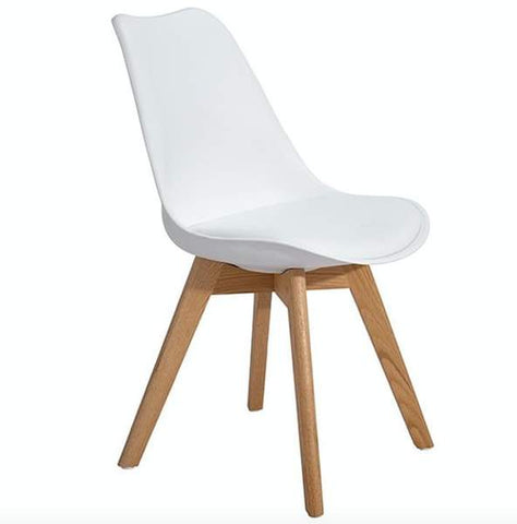Frankfurt Tulip Chair made with Polypropylene Shell, Beech Wooden legs and  Leather Padding, Middle-century Modern Upholstered Cahir for Dinning Room, Living Room, Bedroom and Kitchen - EGGREE