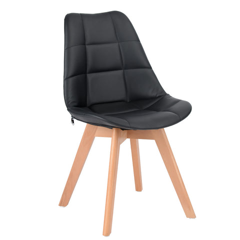 Tulip Dining Chair with Wood legs, Retro-inspired PU Faux Leather Padded Backrest Side Chair for Office, Kitchen, Dining Room and Living Room - EGGREE