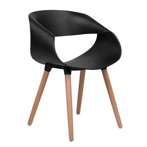 Elegant and Modern Plastic Dining Chair with Wooden Legs for Living Room, Dining Room - EGGREE