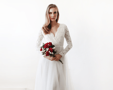Load image into Gallery viewer, Ivory Tulle and Lace Long Sleeve Wedding Maxi Dress 1125