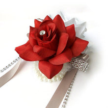 Load image into Gallery viewer, Double Open Rose Wrist Corsages With Pearl Wristband For Wedding And Prom ( 9 options to choose from )