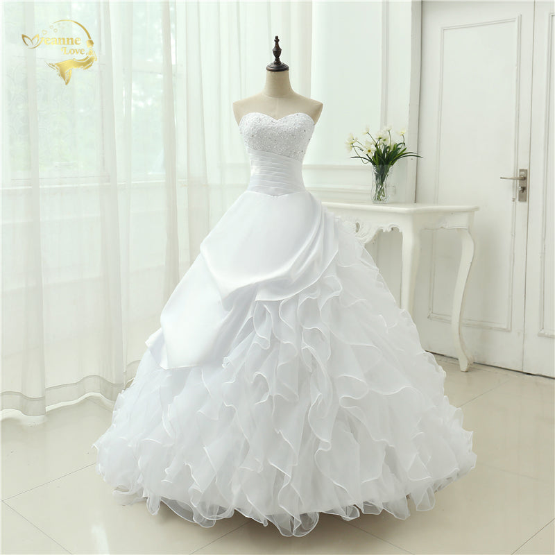 Classic Style Vestidos De Noiva A Line Robe De Mariage Strapless Applique Bridal Gown Wedding Dress 2018 Chapel Train YN0120