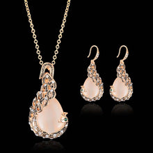 Load image into Gallery viewer, Bridal Crystal Wedding Jewelry Set Alloy Necklace Earrings Rhinestone