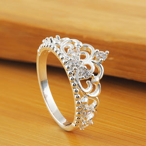 Princess Queen Crown Ring Design Wedding Crystal Size 7 Fashion Jewelry Ring