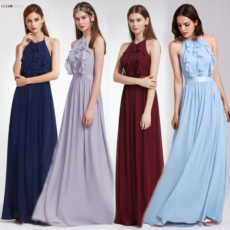 Bridesmaid Dress Ever Pretty Women Elegant Halter Ruffles Adjustable Floor-Length Sleeveless Backless Wedding Party Gowns 07201