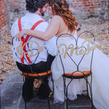 Load image into Gallery viewer, 2Pcs/lot Wedding Bride Groom Chair Wood Signs Chair Pendant Photo Prop for DIY Rustic Wedding Decoration Supplies