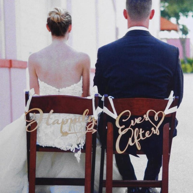 2Pcs/lot Wedding Bride Groom Chair Wood Signs Chair Pendant Photo Prop for DIY Rustic Wedding Decoration Supplies