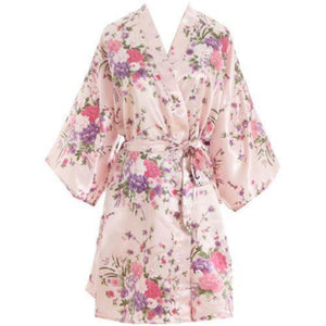 Hot Women Short floral Robe Dressing Gown Bridal Wedding Bride Bridesmaid Kimono