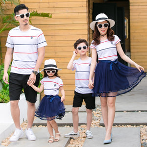 75a9599c4fa5 Striped Family Matching Clothes Father Mother Daughter Son Summer Matching  T-shirts for Dad & Son Mesh Tutu Dress for Mom & Girl