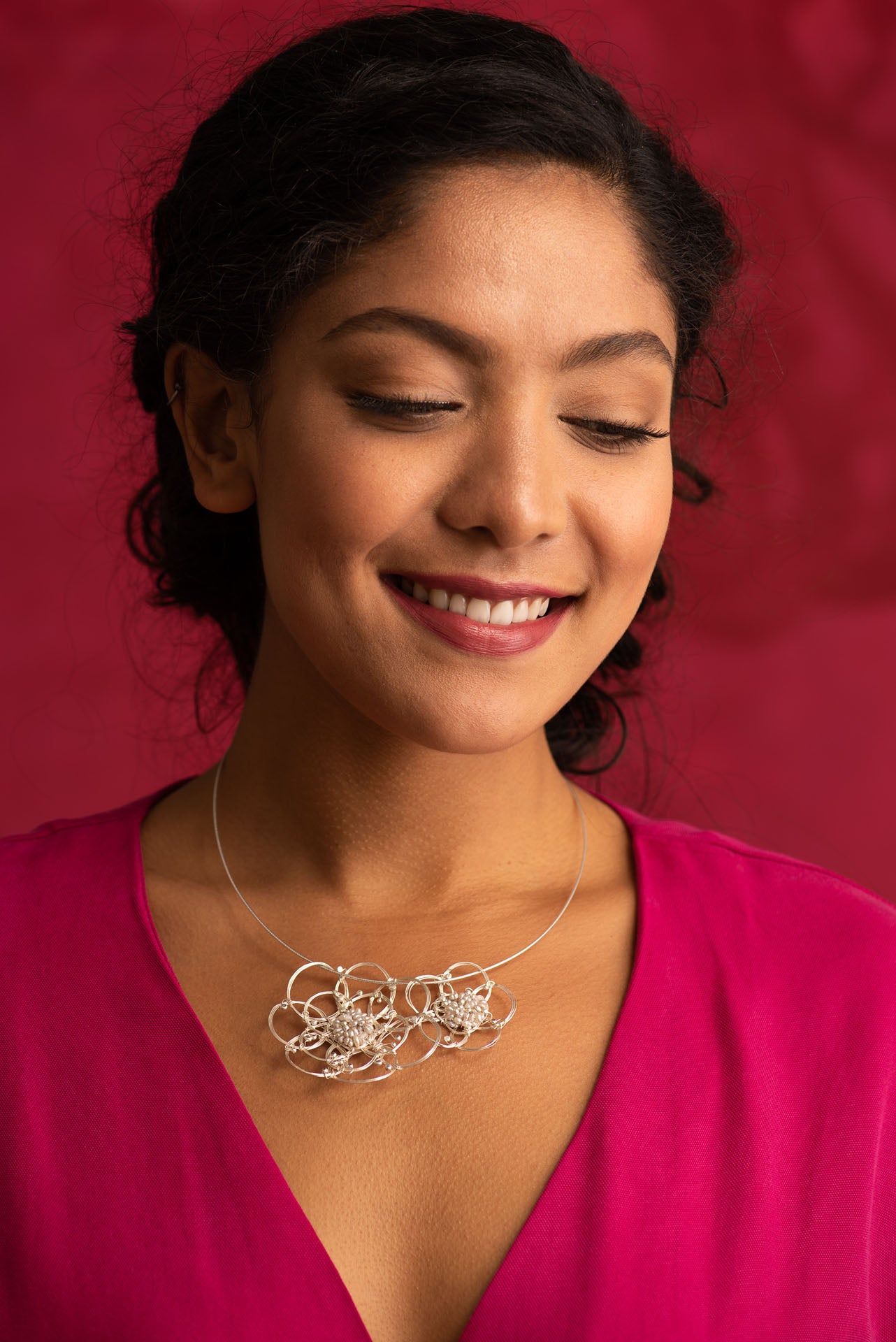 African Roses Duo Fine Silver Pearl Necklace