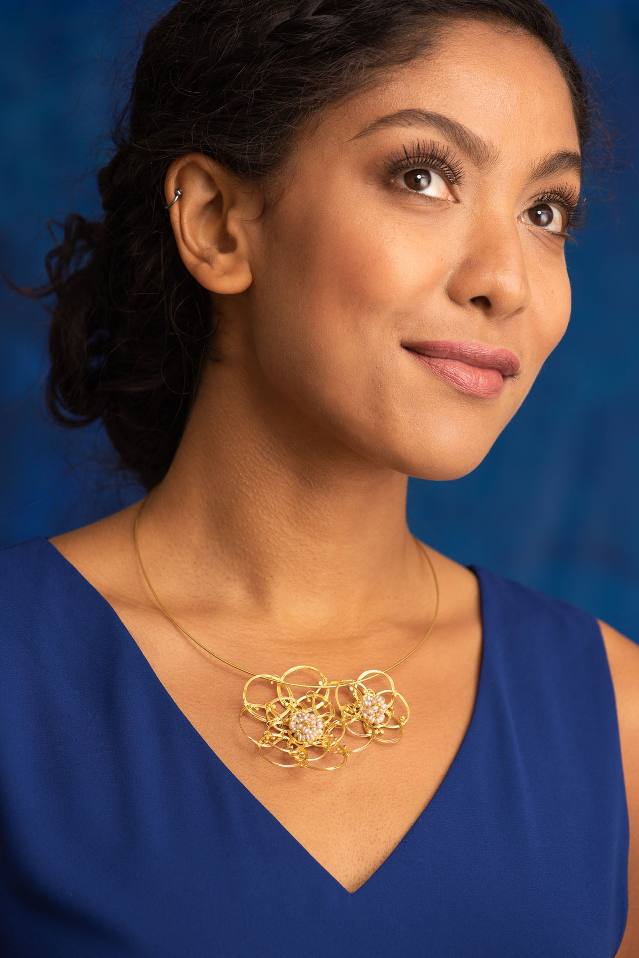African Roses Duo Gold Plated Pearl Necklace