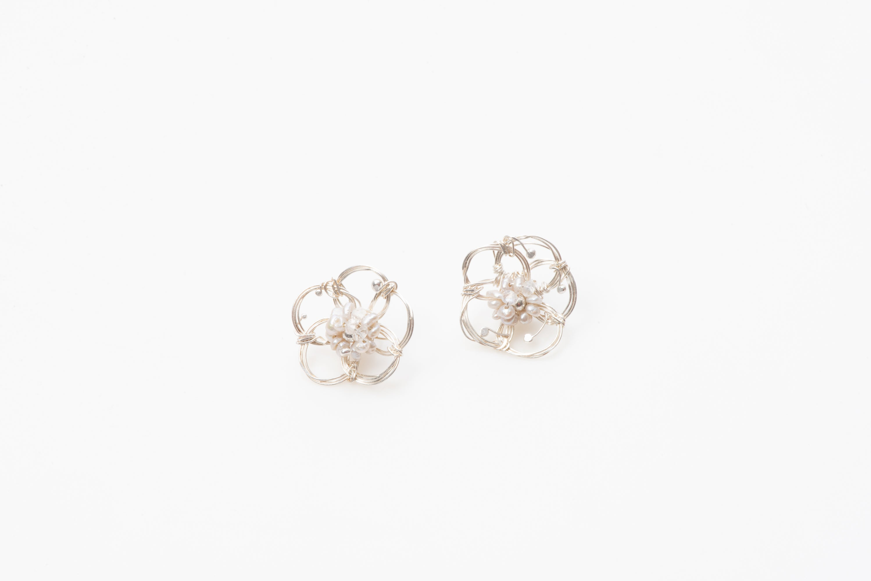 African Rose Fine Silver Pearl Studs