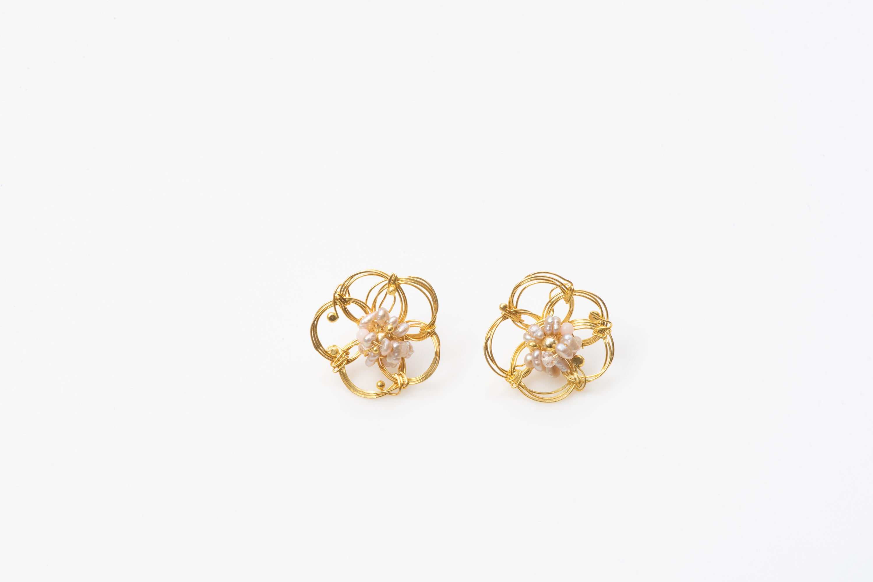 African Rose Gold Plated Pearl Studs