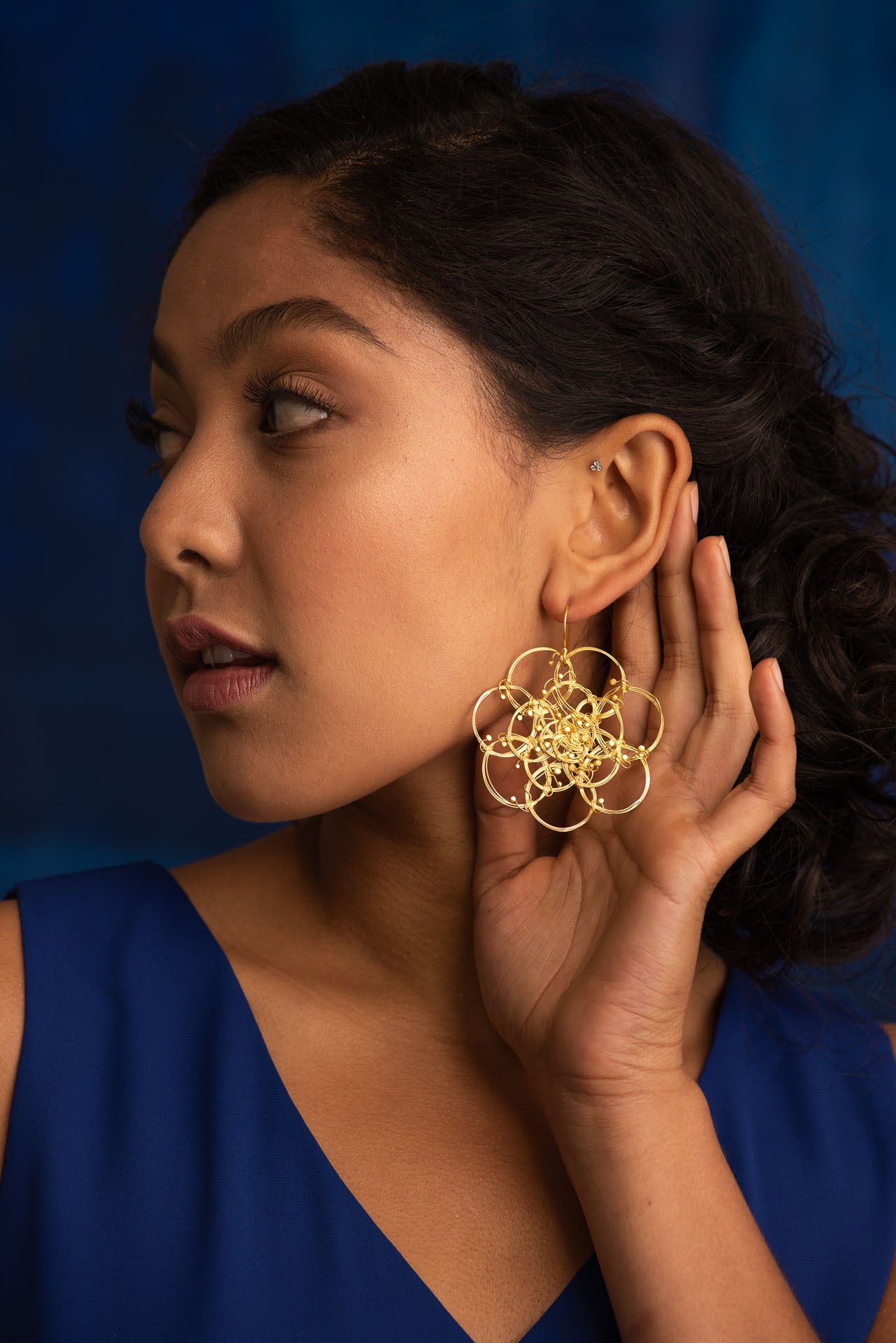 Magnolia Blossom Gold Plated Earrings
