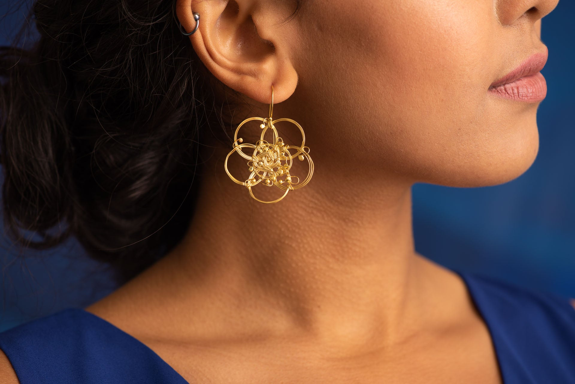 Magnolia Bud Gold Plated Earrings