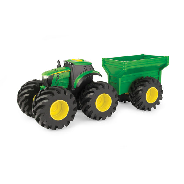 JOHN DEERE MONSTER TREADS LIGHTS & SOUNDS TRACTOR WITH WAGON