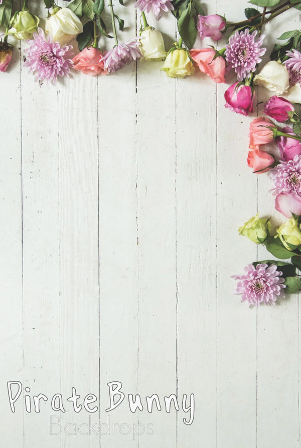 Flowers on White Wood | Floordrop