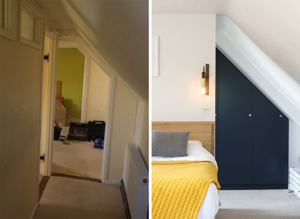 Before and after of bedroom renovation with wall lights