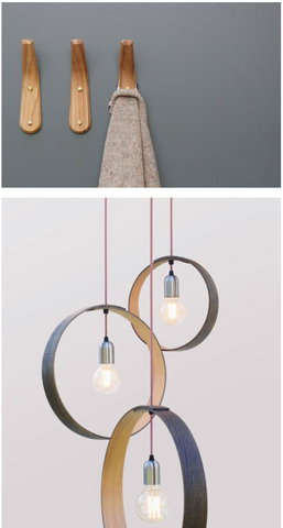 Elm coat hooks and cluster ceiling lighting