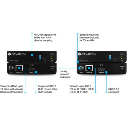 ATLONA AT-HDR-EX-70-2PS HDMI HDBaseT Transmitter & Receiver Kit