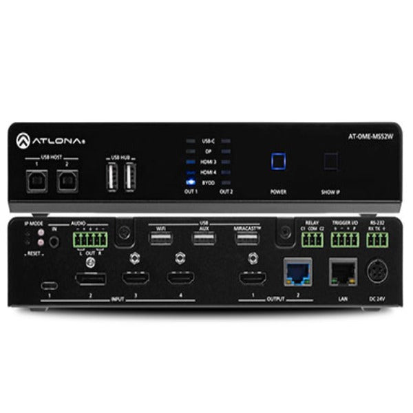 ATLONA AT-OME-MS52W Omega Series Multi-Format 5 x 2 Matrix Switcher - Black