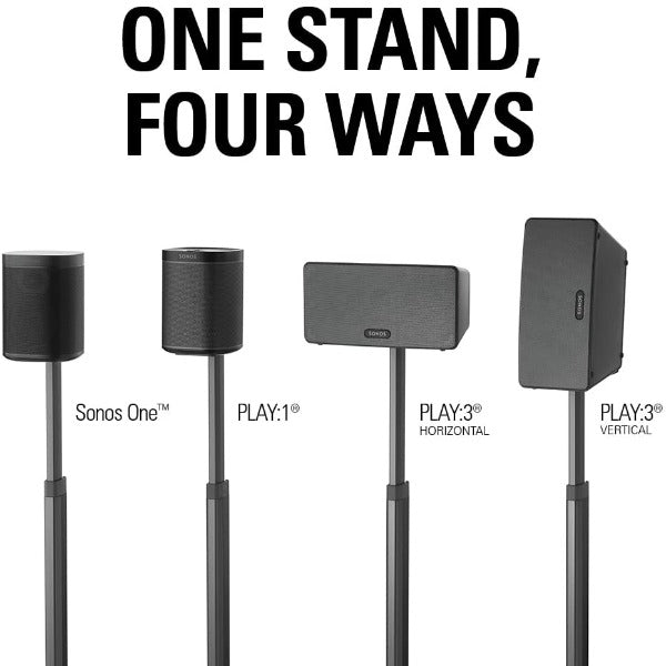 SANUS WSSA2-B1 Adjustable-height speaker stands for Sonos One, Play:1, or Play:3 speakers (Black) - Pair