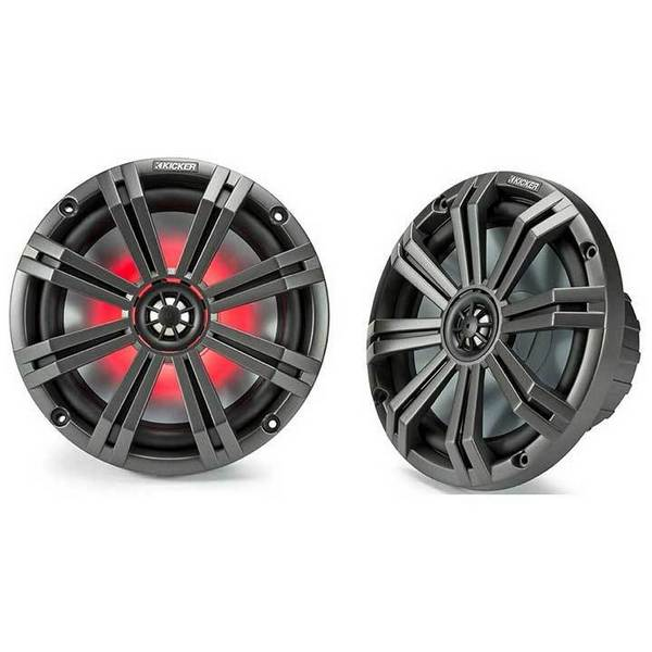 Kicker 45KM84L 8-Inch Marine Coaxial Speakers with 1-Inch Tweeters, LED, 4-Ohm,Charcoal and White Grilles (Pair)
