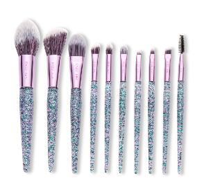 Purple Crystal Makeup Brushes Set