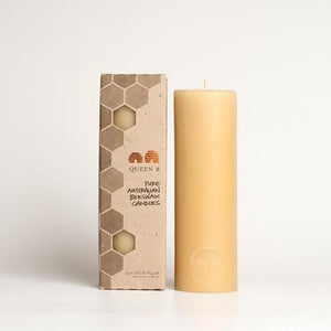 Queen B Beeswax  15cm Pillar Beeswax Candle | 40hr Burn Time