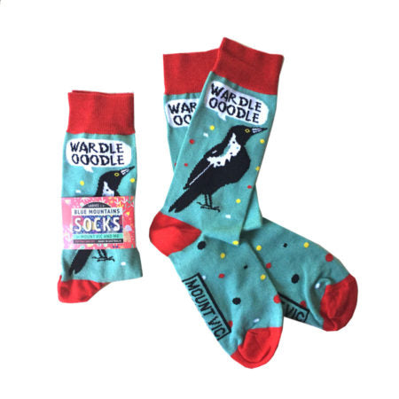 'Magpie Talk' socks made in Australia by Blue Mountains Socks