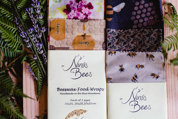 Beeswax Wraps  3 Pack Australiana print - made by Nina's Bees