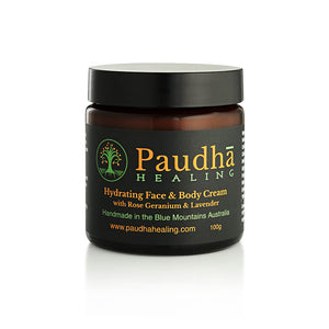 Paudha Healing Hydrating Face and Body Cream with Rose Geranium and Lavender 100gm