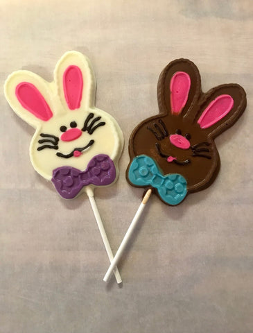 Chocolate Bunny With Bow-Tie On A Stick