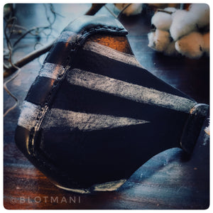Leather face mask design 3 LAST bl/wh STRIPED VERSION