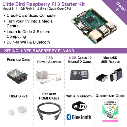 Little Bird Raspberry Pi 3 + Complete Starter Kit