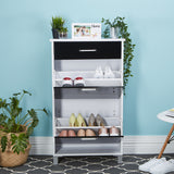 12 Pairs Wooden Shoe Cabinet Rack Storage Organiser 2 Components 1 Drawers Gloss - b-organized