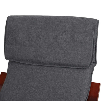 Artiss Fabric Rocking Armchair with Adjustable Footrest - Charcoal - b-organized
