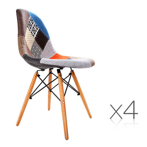 Artiss Set of 4 Retro Beech Fabric Dining Chair - Multi Colour