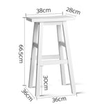 Artiss Set of 2 Wooden Backless Bar Stools - White - b-organized